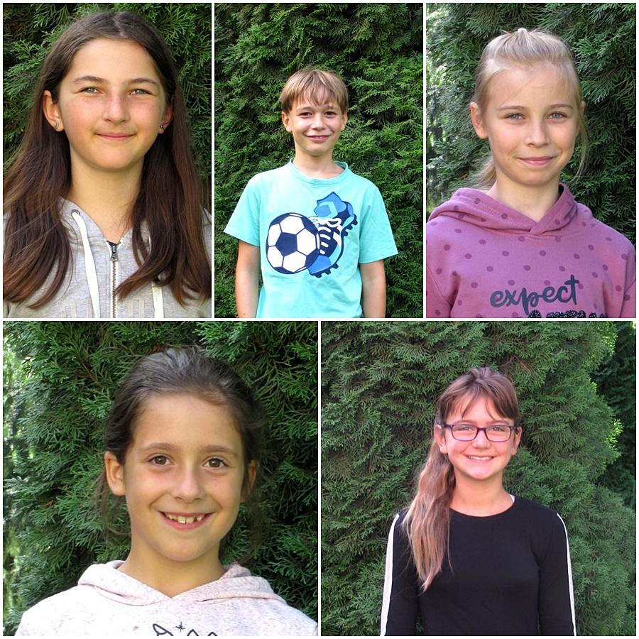 Bilder der fünf Erstkommunionkinder