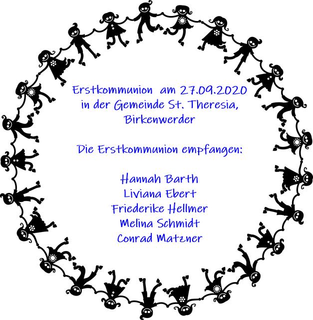 Namen der fünf Erstkommunionkinder mit Datum